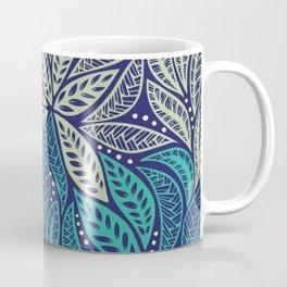 Polynesian floral blue purple tattoo design Coffee Mug