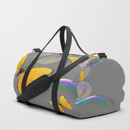 IRIDESCENT BUBBLES & YELLOW BUTTERFLIES GREY ART Duffle Bag