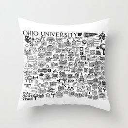 Ohio University Map Throw Pillow