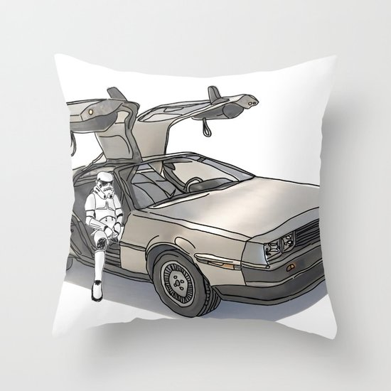 Stormtroooper in a DeLorean - star wars Throw Pillow