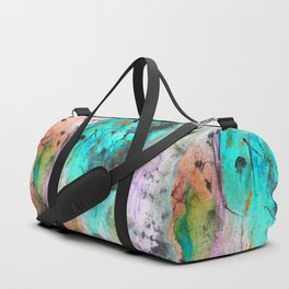 Hand painted teal orange black watercolor Duffle Bag