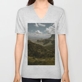 Cloudy Vibrant Mountaintop View in Big Bend - Lost Mine Trail Unisex V-Neck