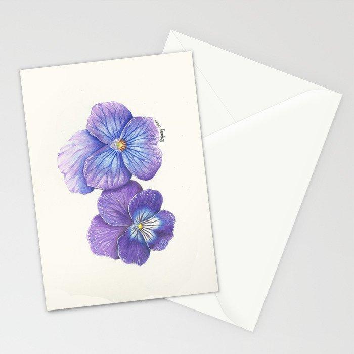 Purple Pansies Stationery Cards