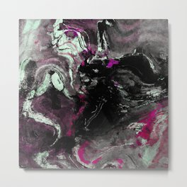Purple and Black Minimalist Art / Abstract Painting Metal Print