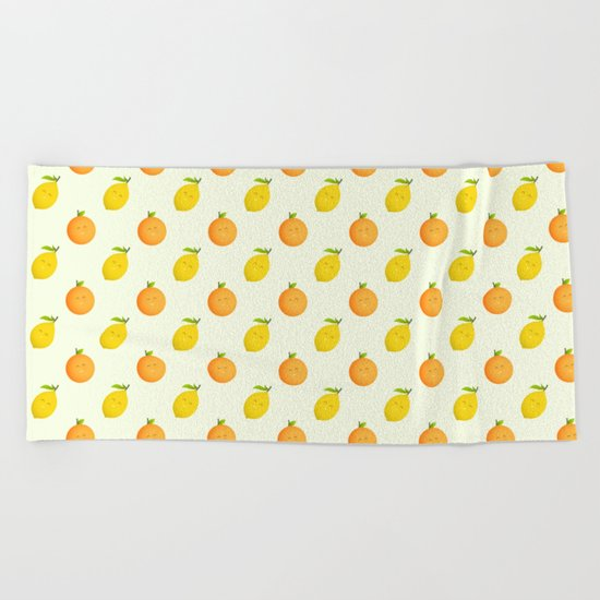 Happy Orange and Lemon Beach Towel