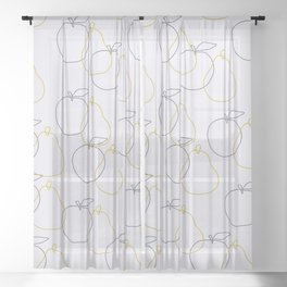 apple and pear Sheer Curtain
