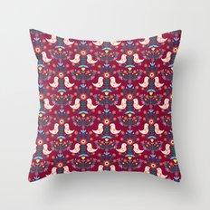 Folk Birds Red Throw Pillow