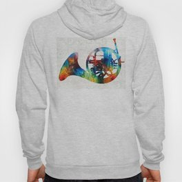Colorful French Horn - Color Fusion By Sharon Cummings Hoody
