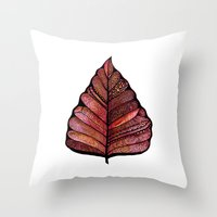 decal Throw Pillows featuring Modern leaf art | green leaves wall decal | botanical leaf decor | botanical leaves | leaf & plant by WestridgeART