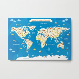 Map of the World with animals. Metal Print