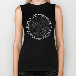Me & Paranormal You - James Roper Design - Palmistry B&W (white lettering) Biker Tank