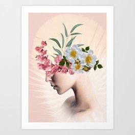 lady with flowers (portrait) Art Print
