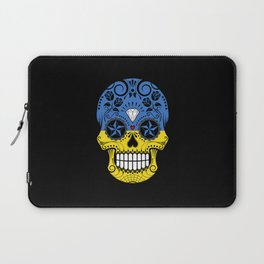 Sugar Skull with Roses and Flag of Ukraine Laptop Sleeve