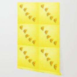 Butterflies on buttercup yellow chevron pattern Wallpaper
