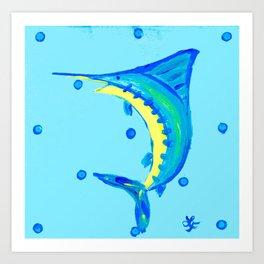 Whimsical Blue Marlin Art Print