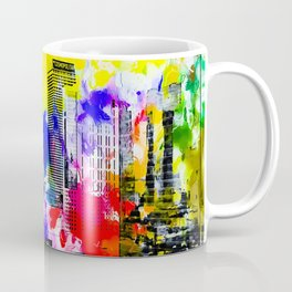 building of the hotel and casino at Las Vegas, USA with blue yellow red green purple painting abstra Coffee Mug