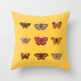 Butterflies Mounted on Yellow Throw Pillow