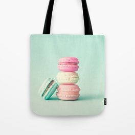Tower of macarons, macaroons over green mint Tote Bag