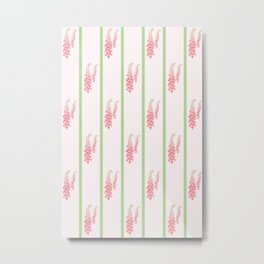 Stripes and Foxglove Pink and Green Repeat Pattern Metal Print