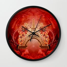 The eiffel tower with flowers Wall Clock