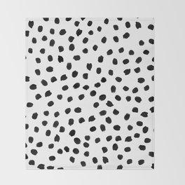 Black daps on white Throw Blanket
