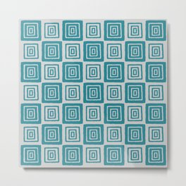 Mid Century Modern Geometric Checker 821 Turquoise and Gray Metal Print