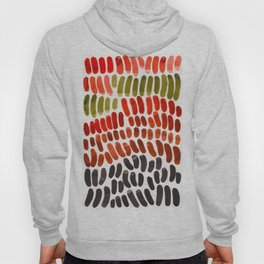 Autumn Colors Red Ochre Olive Green Watercolor Palette Natural Geometric Shapes Hoody