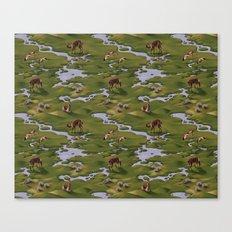 Vicuñas and Flamingoes Canvas Print