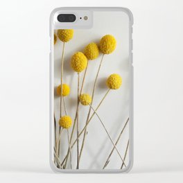 Yellow Pom-Pom Floral Clear iPhone Case