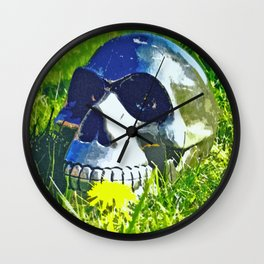 Skull with yellow flower Wall Clock