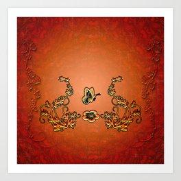 Decorative design, butterflies Art Print