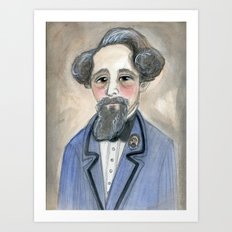 Charles Dickens in Blue, Victorian Literary Portrait Art Print