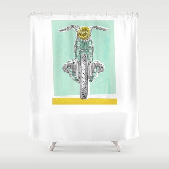 Vintage BMW Motorcycle Shower Curtain By Goneundone