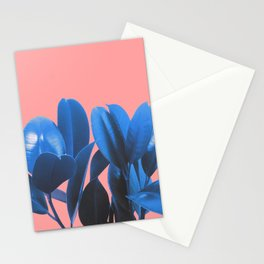 Blue Plant Pink Background Stationery Cards