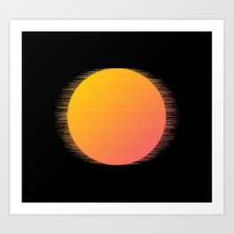 Orange Moon Black Sky Art Print