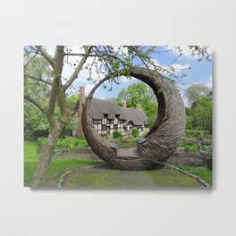 Peaceful Cottage in Shottery Metal Print