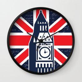 UK England London fashion union jack flag clock tower big ben  Wall Clock
