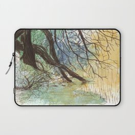 Trees bending over the water Laptop Sleeve
