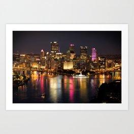 Pittsburgh, Pennsylvania At Night Art Print