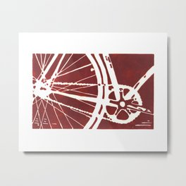 Dark Red Bike Metal Print