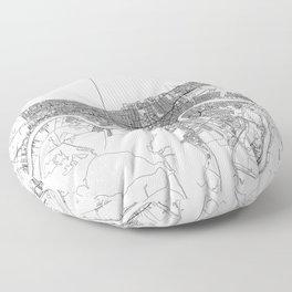 New Orleans White Map Floor Pillow