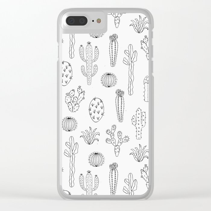 Cactus Silhouette Black Clear iPhone Case