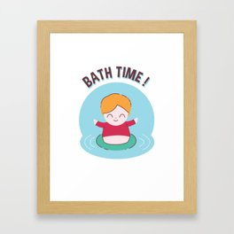Bath Time Boy Enjoying a Day at the Pool Framed Art Print