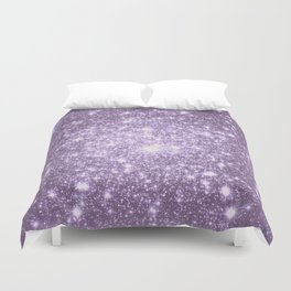 Lilac Galaxy Sparkle Stars Duvet Cover