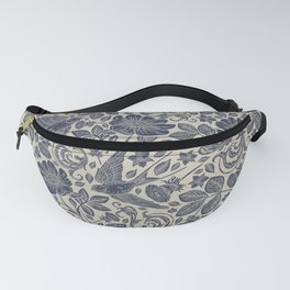 Chic Vintage Ivory Navy Blue Swallows Floral Fanny Pack