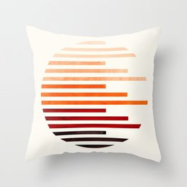 Mid Century Modern Minimalist Circle Round Photo Burnt Sienna Staggered Stripe Pattern Throw Pillow
