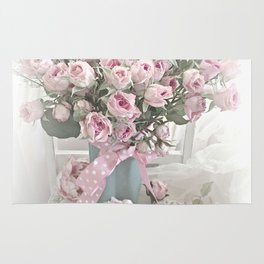 Pastel Roses In Vase - Shabby Chic Roses Pink Aqua Floral Print Home Decor Rug