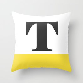 Monogram Letter T-Pantone-Buttercup Throw Pillow