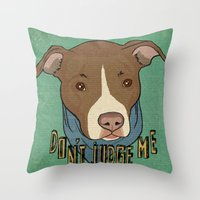 pit bull Throw Pillows featuring Pit bull Pride by Sara Robish Andrews