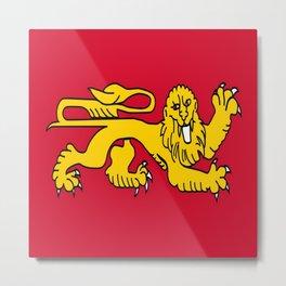 drapeau de l'aquitaine-France,Europe,Sud-ouest,aquitain, guyenne,Bordeaux,rouge,lion,Gasconne Metal Print